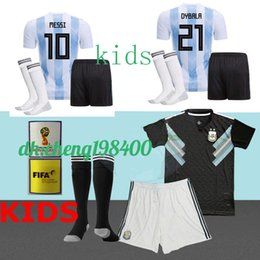 Wholesale baby kit s - 2018 Argentina KIDS Jersey football KITS child baby shirts Home AWAY Messi argentina Dybala Di Maria Icardi Perez Soccer jersey