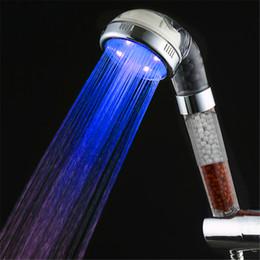 Wholesale Wall Mount Bathtub Faucets - New colorful 5 LED Shower Head Faucet Light 7 Colors Change Bathtub Glow Shower Light Water Flow Head