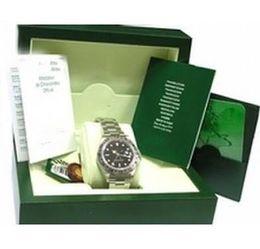 carteras de madera Rebajas Caja de reloj para hombre de lujo interior exterior Relojes masculinos Papeles Tarjeta Caja Cajas Cajas Caja de regalo de madera verde