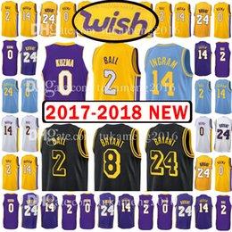 Wholesale City Los Angeles - 2018 New Men's Youth Los Angeles 2 Lonzo Ball 0 Kyle Kuzma Jersey Lakers stitching 14 Brandon Ingram 24 8 Kobe Bryant The City Jerseys