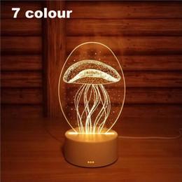 materiales de puesta a tierra Rebajas 3D Led Luz de Noche Cambio de Novedad Lámpara de Mesa Decoración para el Hogar Mesita de noche Lámpara 3d Regalos 2018 Nuevo 7 Colores