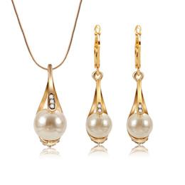 Perlen Gold Schmuck Set Damen Fashion Party Jewely Statement Halskette Ohrringe von Fabrikanten