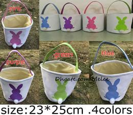 Wholesale Burlap Wholesale - INS Burlap Easter Bunny Baskets DIY Rabbit Bags Bunny Storage Bag Jute Rabbit Ears Basket Easter Gift Bag Rabbit Ears Put Easter Eggs