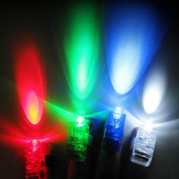 Wholesale Beam Decorations - 500pcs Plastic LED Finger Light Glowing Dazzle Colour Laser Emitting Beams Ring Torch Wedding Party Christmas Decoration