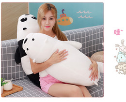 Wholesale christmas stuffed panda bear - 50cm Cartoon We Bare Bears Lying Bear Stuffed Grizzly Gray White Bear Panda Plush Toys for Children Kawaii Dolls for Kids Gifts