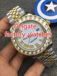 Wholesale yellow sapphire bracelet - yellow gold case diamonds watch Roman numbers white dial 43mm mens automatic jubilee bracelet band AAA luxury watches