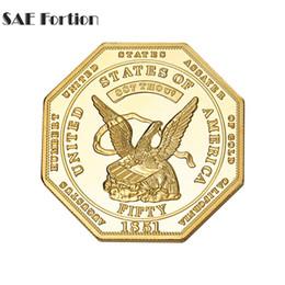 2019 emblemas de serviço Moeda de ouro por atacado-americano 1851 Octagon Estados Unidos moedas BTC500