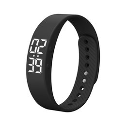 Wholesale Digital Camera Orange - T5S LED Digital Heart Rate Monitor Bracelet Smart Wristband Calorie Sports Pedometer Kids Women Men Bracelet Wristband Gift