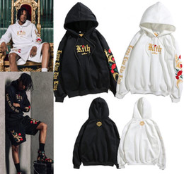 embroideries sweatshirts Coupons - 18ss Mens Brand Fashion Pullovers KITH Flower Embroidery Hooded Hoodies Casual Kanye Sweatshirts