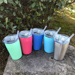 Wholesale Double Walled Coffee Glasses - 12oz Vacuum Insulated Double Wall Stainless Steel Tumbler Wine Glass with Lid with Straw Kid Cup Coffee Mugs Flask Kitchen