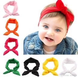 Wholesale baby turbans - Baby Girls Bunny Ear Headbands Bows Elastic Bowknot Headbands Children Hair Accessories Hairband Kids Turban Knot Headbands Headwear KHA08