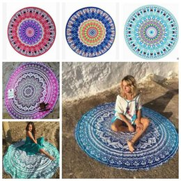 compressed beach towels Promo Codes - Bohemian round beach towel chiffon Mandala tapestry Round Tablecloth Printed Yoga Mat Outdoor Picnic Rugs Shawl Wrap 12 Designs YW435