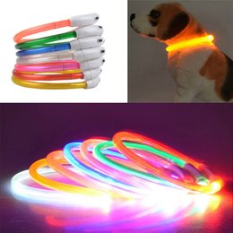 Wholesale Usb Belt - New high quality Dog Collar Rechargeable USB LED Flashing Light Band Belt Safety Pet Necklace For Night Running Walk Around