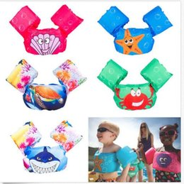 Wholesale Jacket Bands - 7 design Swimming Arm Floating Life Jacket inflatable Animal print cartoon vest Arm Ring Inflatable Safety Arm Floats Bands Rings KKA5058