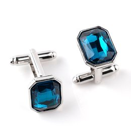 Wholesale high quality groom shirts - Luxury Men Sea Blue Crystal Cufflinks High Quality Lawyer Groom Father Wedding Shirt Cuff Links Buttons