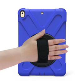 Wholesale ipad mini hand - for 2017 new iPad pro 10.5 9.7 air 2 mini 4 SAMSUNG P580 T820 T377V T810 Kickstand 360 Degree Rotable Tote Hand Strap Shockproof Case 1pc