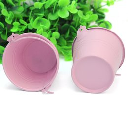 Wholesale Tin Buckets Favors - 12Pcs Cute Pink Metal Bucket Chocolate Favors Tin Pails Keg Gift Candy Box Wedding Party Supplies DIY Decoration