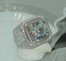 cut diamonds 2018 - Stunning Handmade Fashion Jewelry 925 Sterling Silver Popular Round Cut White Topaz CZ Diamond Full Gemstones Men Wedding Band Ring Gift