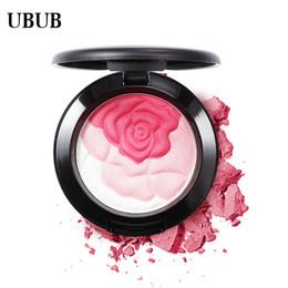 blütengesicht stiftung Rabatt UBUB Rose Flower Gebackene Rouge Palette Sweet Charming Cheek 3 Farben Mineral Blush Face Foundation Kontur Make-up Cremepuder