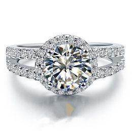 diamantes semi montagem Desconto Real 14 K Anel De Ouro Branco de Noivado Micro Pavimentada Wedding Band 1CT Excelente Rodada Simular Diamante Semi Montar AU585 Estilo Halo S923