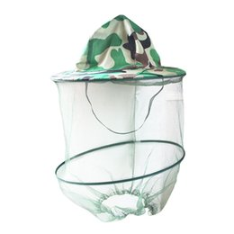 camouflage field net Coupons - Camouflage Outdoor Hiking Caps Mosquito Hat Net Beekeeping Field Summer Anti Insect Bee Hat Jungle Fishing Cap