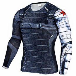 Camisas de manga longa de super-herói on-line-Super-heróis da Marvel Inverno Soldado Bucky 3D Camisa Dos Homens T de Fitness Crossfit T Camisa de Manga Comprida Compressão T Shirt Dos Homens S clothing