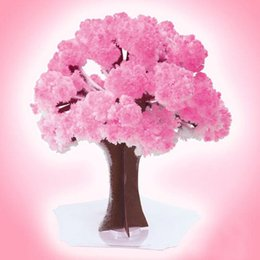 Wholesale Cherry Cans - Paper new style Magic cherry tree mini wishing tree new style tool miraculous paper tree can bloom