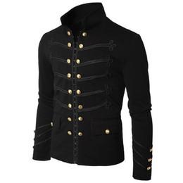 2019 moda gótica talla grande Otoño invierno chaqueta de los hombres de moda gótico desfile Rock negro Steampunk ejército escudo hombres túnica informal prendas de vestir exteriores más tamaño rebajas moda gótica talla grande