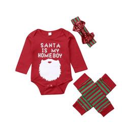 baby warme pyjamas Rabatt Weihnachten Baby Mädchen Jungen Kleidung Pyjamas Strampler Tops Beinwärmer Stirnband Outfit Santa Schnurrbart Brief Print Baumwolle XMAS Baby Kleidung