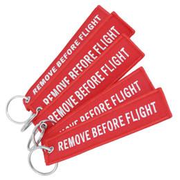 Wholesale funny fabrics - 2018 Funny Creative Fabric Key Ring Remove Before Flight Keychain Pilot Bag Crew Tag Luggage Keyring