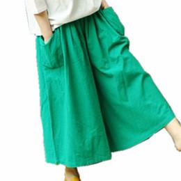 Wholesale Capris Skirt - Wide Leg Pants Women Cotton Linen Big Pockets Wide Leg Pants Trousers Plus Size Elastic Waist Capris Skirt