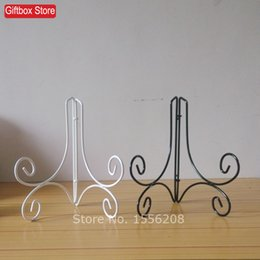 """Wholesale Metal Bowl Stand - 8"""" Tall wrought Iron Easel Display Stands For Decorative Plate,Pictures,Cook Books,Bowls,or Platters,two colors for selection"""