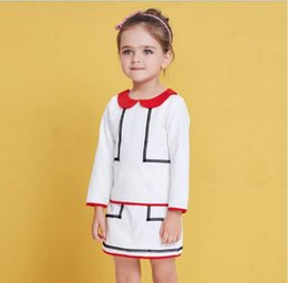 Wholesale Wholesale Long White Skirts - 2018 INS spring NEW arrival Girls Kids long Sleeve Contrast Color doll collar A word skirt kids causal high quality cotton dress