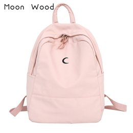3fcac2eaaebf Moon Wood Candy Color Canvas Women Casual Backpack Sweet Printing Moon Girls  School Bags Laptop Bagpack s mujer 2018