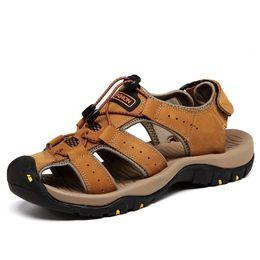 Wholesale Rear Light Covers - 2018 Summer New Men's Leather Sports Casual Men's Sandals Outdoor Baotou Non-slip Beach Shoes Korean Handmade Shoes