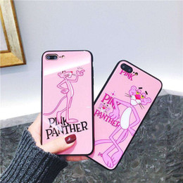 Wholesale Panther Cover - Stylish Pink Panther Glass Mirror+TPU Phone Shell for IPhone X 6 6plus 7 8 7 8plus Protective Case Back Cover