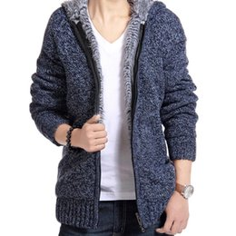 Wholesale Men Winter Sweater Fur - Jacket Men 2018 Thick Velvet Cotton Hooded Fur Jacket Mens Winter Padded Knitted all-match Casual Sweater Cardigan Coat Spring