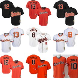 Wholesale Baltimore Xxl - 8 Cal Ripken Jr. 13 Manny Machado 10 Adam Jones 12 Roberto Alomar Baltimore Orioles Jersey stitched Baseball Jerseys Black White Orange