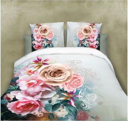 Wholesale comforter sets leopard print - 2018 new 4Pcs King Size Luxury 3D Rose Bedding SetS Red Color Bedclothes Comforter Cover Set Wedding Bed linen peony   leopard