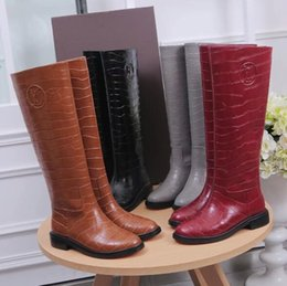 Wholesale Crocodile Leather Bags - Women 1A3CUT Drops High Boot,Crocodile Patrern Leather Knee Boots,Rubber Outsole,with Dust Bag Box Receipt,Size 35-40
