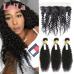Wholesale length 26 inches hair - Human Hair Extensions Weft Malaysian Deep Wave Curly 3 Bundles With 13X4 Lace Frontal Hair Weaves Hair Bundles With Frontal 4 Pieces lot