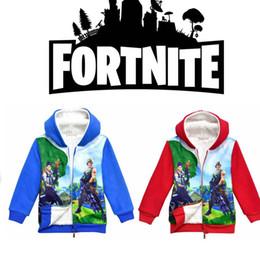 Wholesale thick hoodies wholesale - 2 color Fortnite Hoodies Kids Winter Thick Cartoon Zipper Fleece Sweatshirts Children Long Sleeve Teenager Coats Jacket MMA306