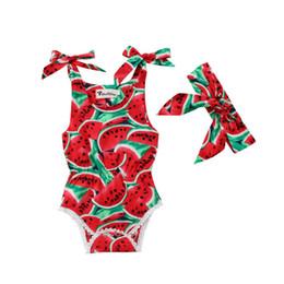 sandía ropa roja Rebajas 2018 Emmababy Toddler Baby Girls Watermelon Red Clothes Outfits Mono Mono + diadema Mono corto de verano Ropa Casual