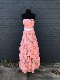 Fotos de vestido rosa online-Vestido de fiesta de camuflaje rosado de Real Tree AP Vestido largo de dama de honor de chiffon pic-up 2018