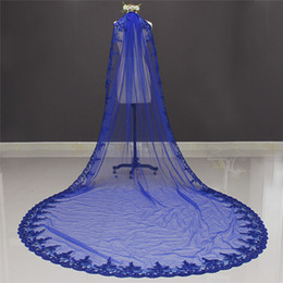 Wholesale Royal Blue Wedding Veils - New Royal Blue 3 Meters Bling Sequins Lace Long Cathedral Wedding Veil Colorful Bridal Veil with Comb 2018