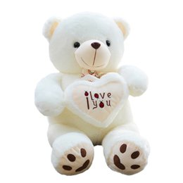 Wholesale Teddy Bears For Valentines - toys 1pc 50cm&70cm Stuffed Toy Holding LOVE Heart Big Plush Teddy Bear Soft Gift for Valentine Day Birthday Girls' Brinquedos