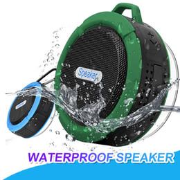 altoparlante lungo Sconti Altoparlanti impermeabili della doccia C6 degli altoparlanti senza fili di Bluetooth con il driver forte Durata della batteria lunga con la tazza di aspirazione smontabile del mic con il pacchetto