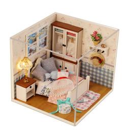 2019 kit maison 3d 3D En Bois Creative DIY Dollhouse Maison De Poupée Jouets Modèle Miniatura Avec Meubles Enfants Cadeau Doll House Meubles Kits promotion kit maison 3d
