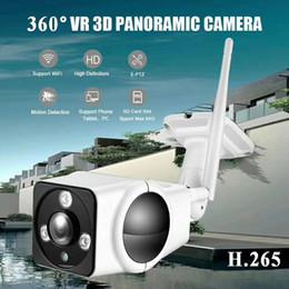 2019 caméra ip panoramique 1080p Wifi caméra 2.0mp caméra IP extérieure étanche à 360 degrés caméra Panorama Caméra VR Cam Fisheye Bullet avec fente pour carte TF + puissance caméra ip panoramique pas cher