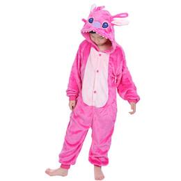 Пижамы детские животные онлайн-Baby Boys Girls Flannel Animal Stitch Пижамы Зимние с капюшоном Дети Пижамы Детские пижамы пижамы 3 5 7 9 11 лет
